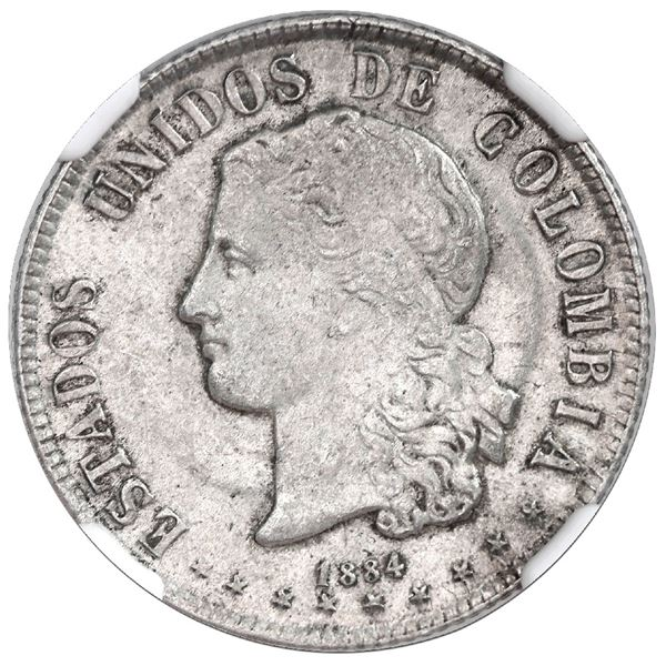 Medellin, Colombia, 20 centavos, 1884, NGC MS 62, finest and only example in NGC census, ex-Sanchez.