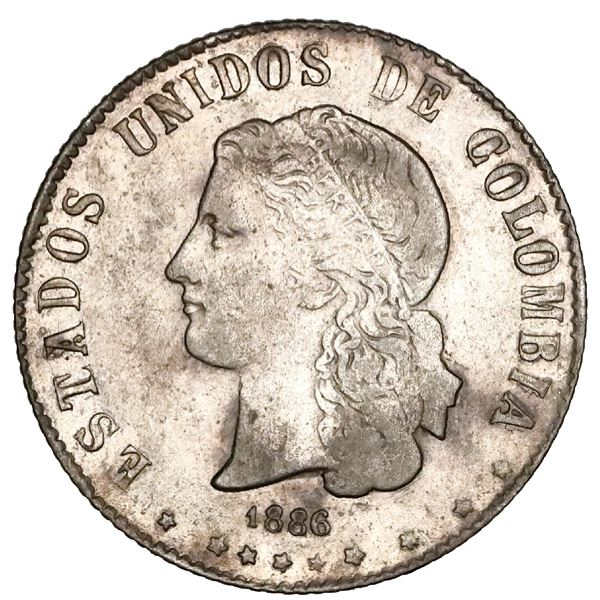 Medellin, Colombia, 20 centavos, 1886, very rare, NGC VF details / cleaned, Restrepo Plate.