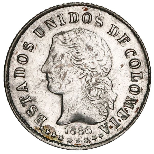 Medellin, Colombia, 10 centavos, 1886, GRAM and two stars in reverse legend, NGC UNC details / clean