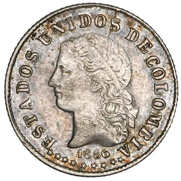 Medellin, Colombia, 10 centavos, 1886, GRA and three stars in reverse legend, NGC AU 55 ( top pop ),