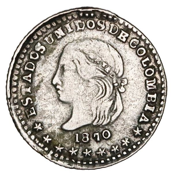 Medellin, Colombia, 1/2 decimo, 1870, very rare, NGC VF 30, finest and only example in NGC census, R