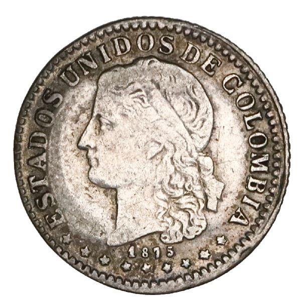 Medellin, Colombia, 5 centavos, 1875, NGC VF details / damaged, Restrepo Plate.