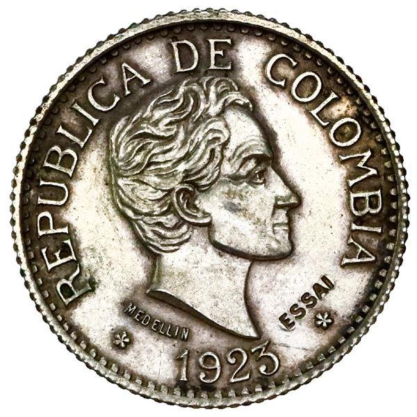 Silver specimen pattern (essai) struck in France for Medellin, Colombia, gold 5 pesos, 1923, reeded
