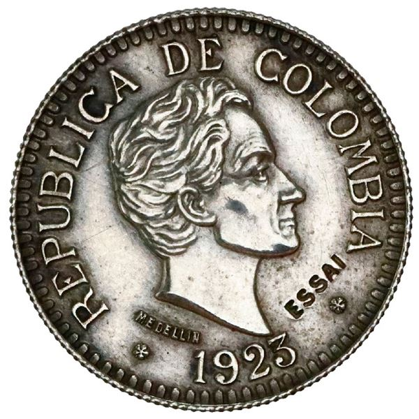 Silver specimen pattern (essai) struck in France for Medellin, Colombia, gold 2-1/2 pesos, 1923, ree
