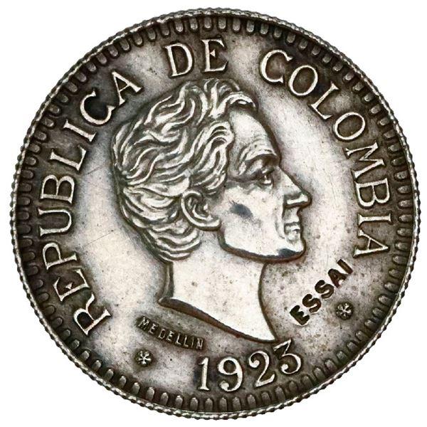 Silver specimen pattern (essai) struck in France for Medellin, Colombia, gold 2-1/2 pesos, 1923, ree