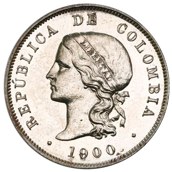 Silver proof pattern struck at the Heaton Mint (England) for Bogota, Colombia, 50 centavos, 1900, pl