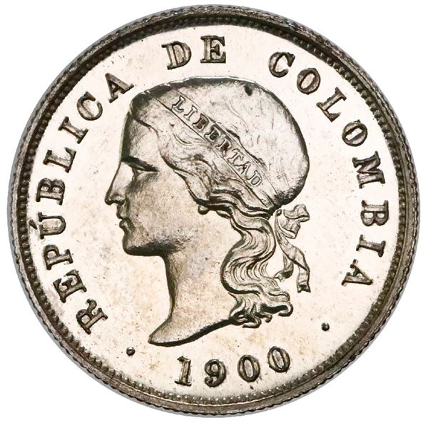 Silver proof pattern struck at the Heaton Mint (England) for Bogota, Colombia, 20 centavos, 1900, re