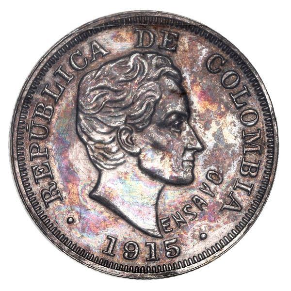 Medellin, Colombia, silver piefort pattern 20 centavos, 1915, with ENSAYO, reeded edge, rare, ex-Eld