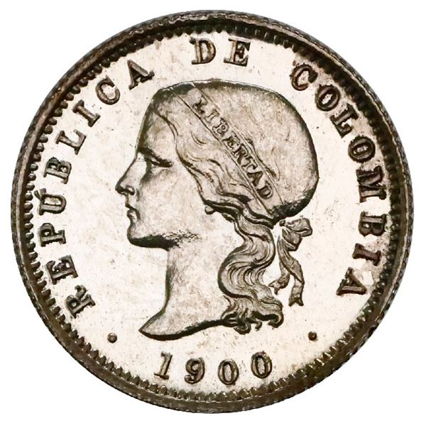 Silver proof pattern struck at the Heaton Mint (England) for Bogota, Colombia, 10 centavos, 1900, re