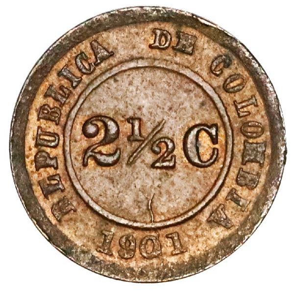 Bogota, bronze 2-1/2 centavos, 1901, Lazareto, extremely rare, NGC MS 63, finest and only example in