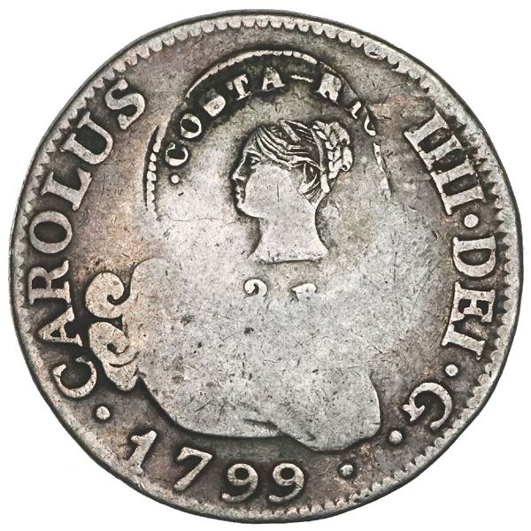 Costa Rica, 2 reales, female head / ceiba tree double countermark (Type III, 1845) on a Madrid, Spai