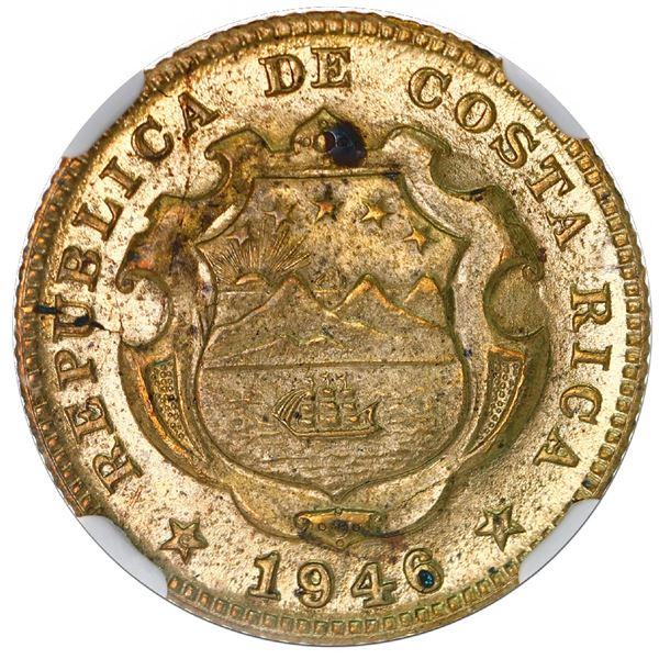 "Costa Rica, brass 25 centimos, 1946-BNCR, NGC MS 65 (""top pop"")."