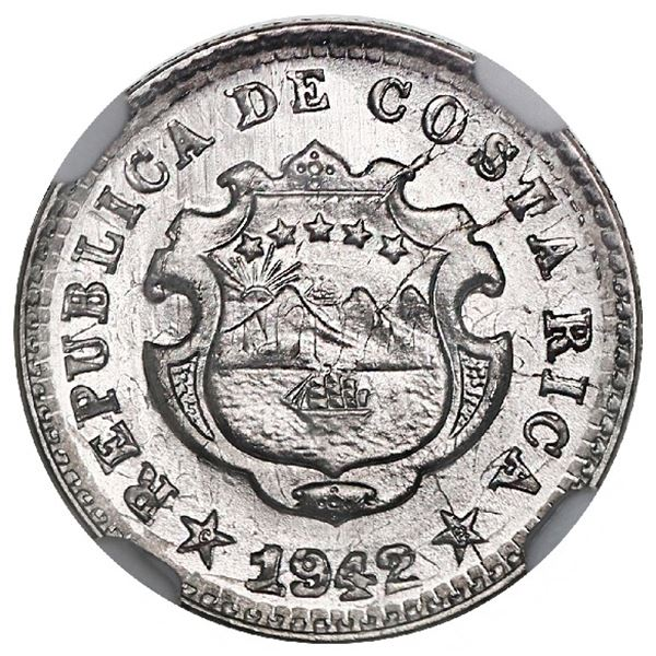 Costa Rica, copper-nickel 5 centimos, 1942-BNCR, struck over a Costa Rican 2 centimos, 1903, NGC MS