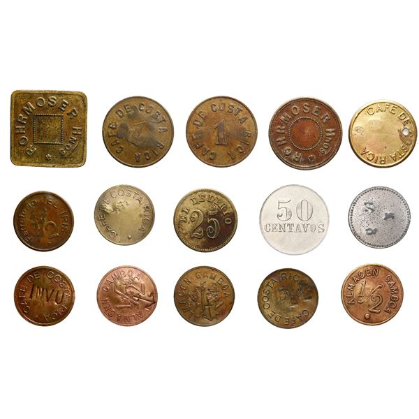 Lot of 15 miscellaneous Costa Rican tokens of the 1800s and early 1900s.