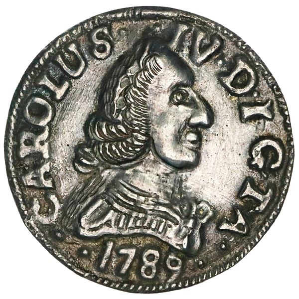 Guanabacoa, Cuba, cast silver 4 reales-sized proclamation medal, Charles IV, 1789, Miguel Nunes, ver