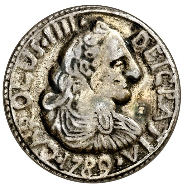 Quiebraxaha (Quiebra Hacha), Cuba, cast silver 2 reales-sized proclamation medal, Charles IV, 1789,