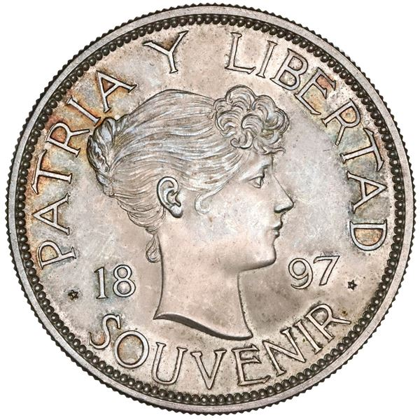 """Cuba, """"souvenir"""" peso, 1897, Type II (closely spaced date and star to right below baseline), NGC MS"""