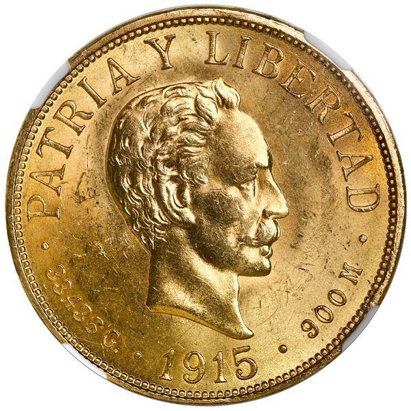 Cuba (struck at the Philadelphia mint), gold 20 pesos, 1916, Jose Marti, NGC MS 63.