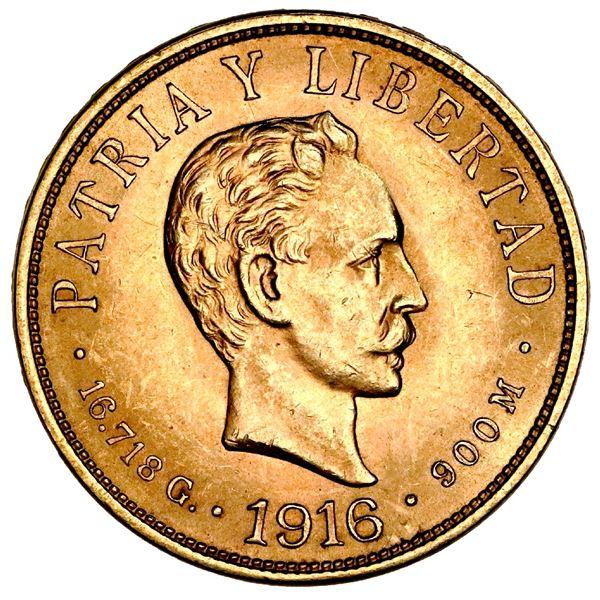 Cuba (struck at the Philadelphia Mint), gold 10 pesos, 1916, Jose Marti, NGC MS 61.