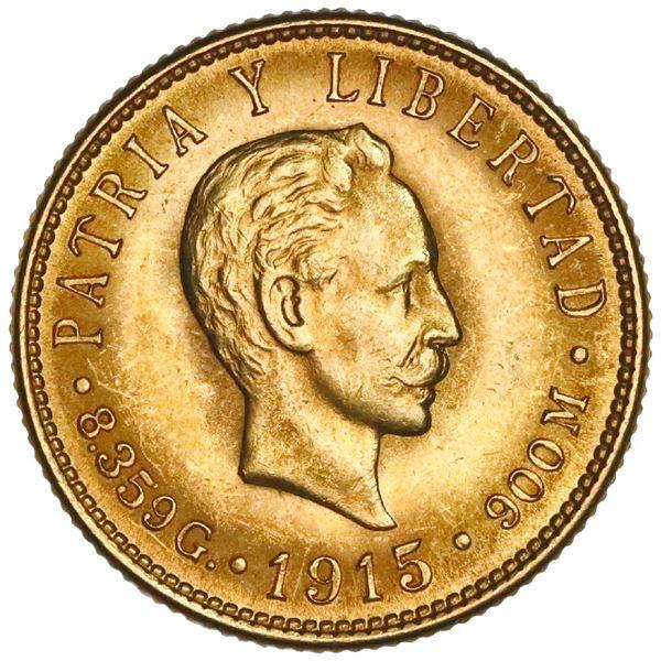Cuba (struck at the Philadelphia Mint), gold 5 pesos, 1915, Jose Marti, NGC MS 63.