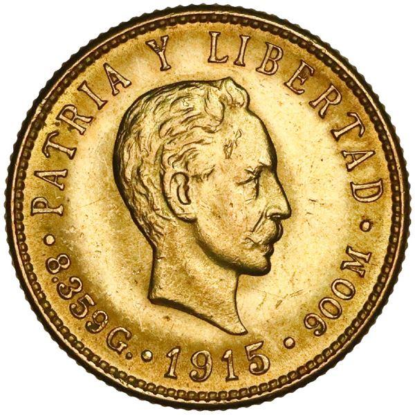 Cuba (struck at the Philadelphia Mint), gold 5 pesos, 1915, Jose Marti, NGC MS 62+.