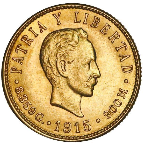 Cuba (struck at the Philadelphia Mint), gold 5 pesos, 1915, Jose Marti, NGC MS 61.