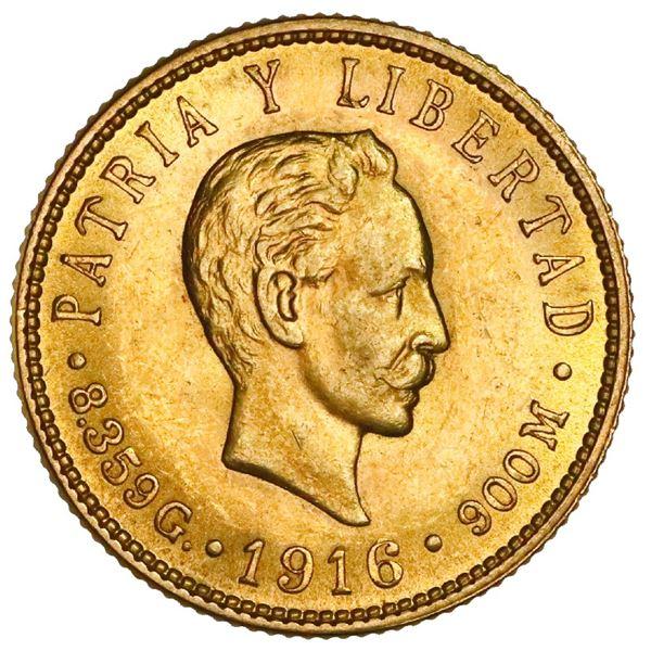 Cuba (struck at the Philadelphia Mint), gold 5 pesos, 1916, Jose Marti, NGC MS 62.