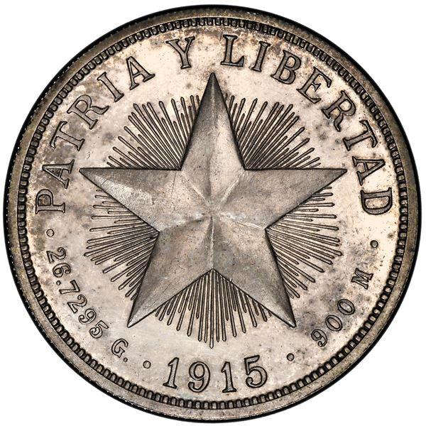 Cuba (struck at the Philadelphia mint), proof 1 peso, 1915, high relief star, rare, PCGS PR62.