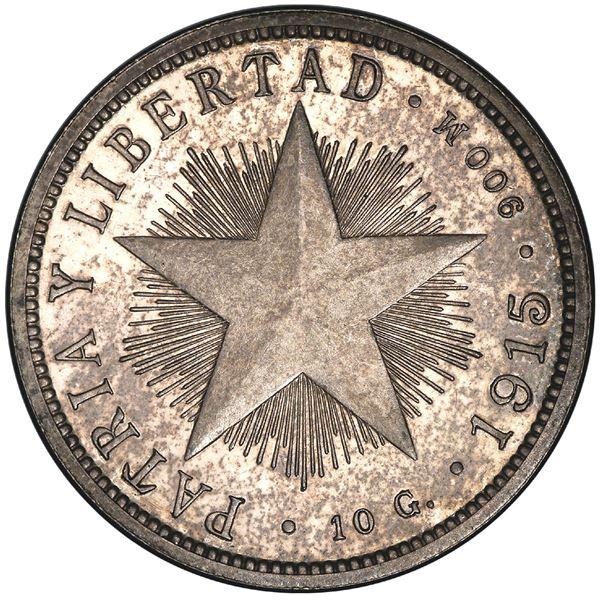 Cuba (struck at the Philadelphia mint), proof 40 centavos, 1915, high relief star, rare, PCGS PR63.