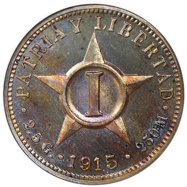 Cuba, proof copper-nickel 1 centavo, 1915, NGC PF 65.