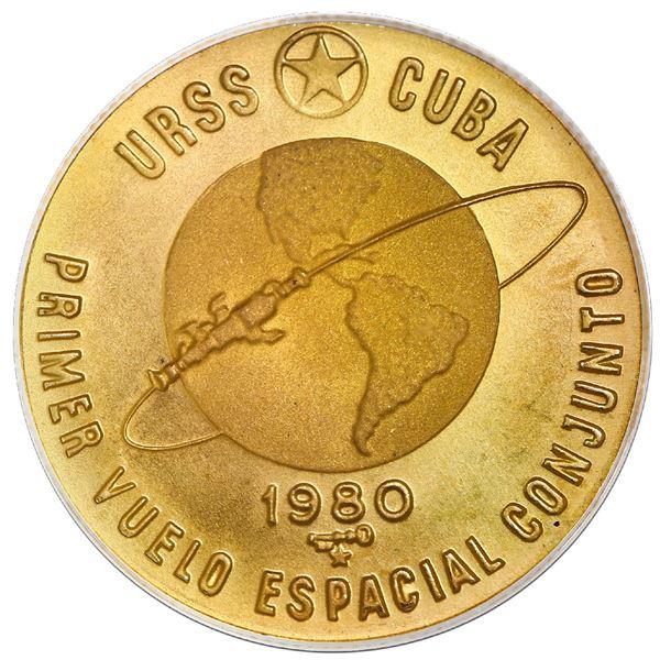 Cuba, gold 100 pesos, 1980, First Soviet / Cuban space flight (first Afro-Cuban in space), PCGS MS68