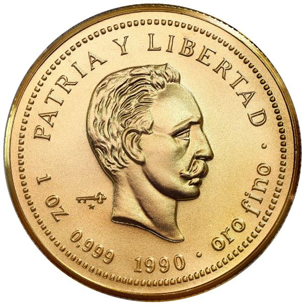 Cuba, gold piefort 100 pesos, 1990, Jose Marti, rare, NGC MS 70, finest known in NGC census.