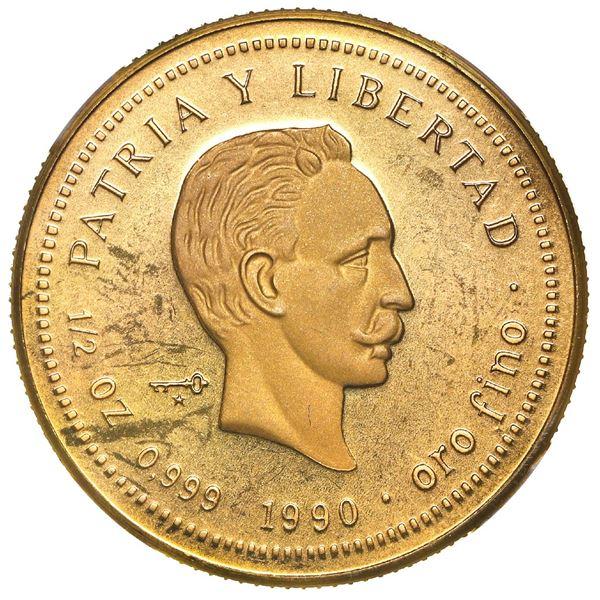 Cuba, gold proof piefort 50 pesos, 1990, Jose Marti, very rare, NGC PF 67 Ultra Cameo, ex-Rudman.