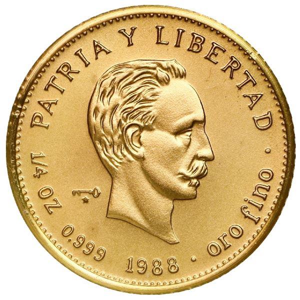 """Cuba, gold piefort 25 pesos, 1988, Jose Marti, very rare, NGC MS 69 (""""top pop""""), ex-Rudman."""