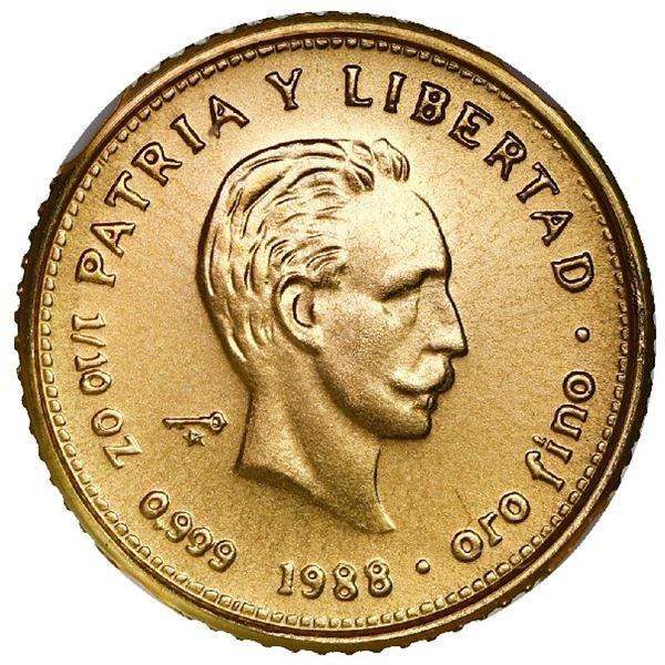 Cuba, gold piefort 10 pesos, 1988, Jose Marti, very rare, NGC MS 68, ex-Rudman.