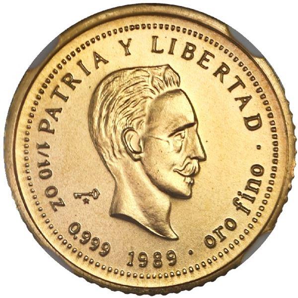 """Cuba, gold 10 pesos, 1989, Jose Marti, NGC MS 69 (""""top pop"""")."""