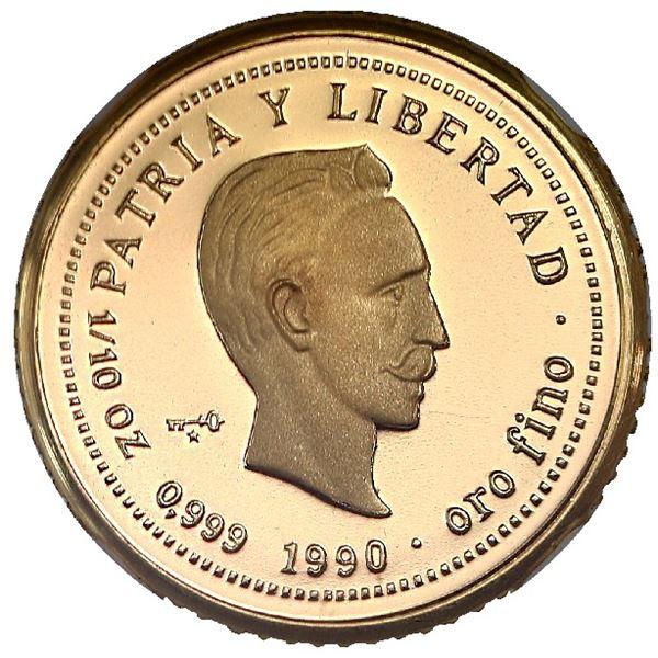 Cuba, gold proof piefort 10 pesos, 1990, Jose Marti, rare, NGC PF 69 Ultra Cameo.