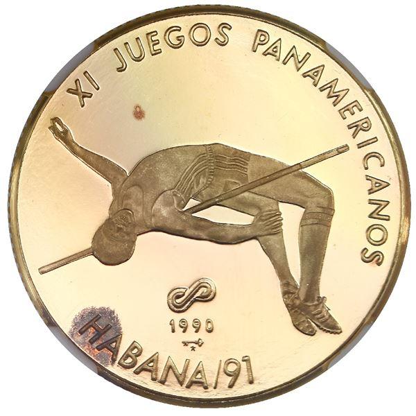 Cuba, gold proof 50 pesos, 1990, XI Pan-American games / high jump, NGC PF 67 Ultra Cameo, ex-Rudman