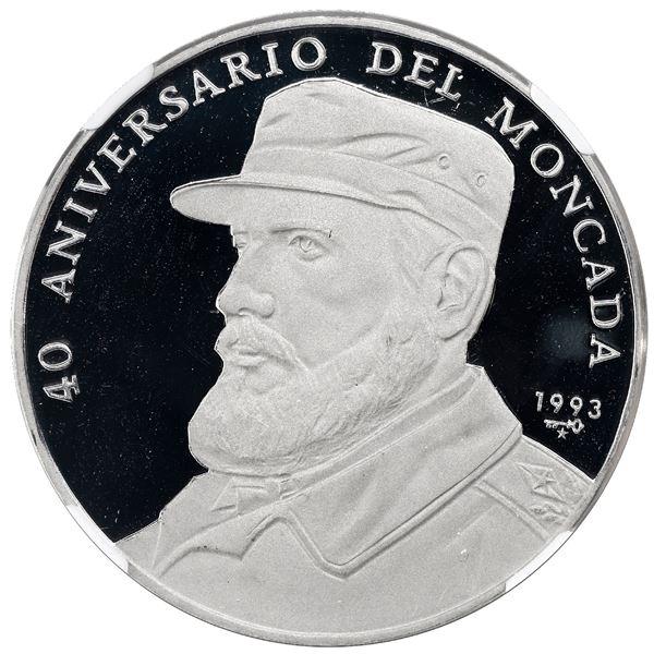 Cuba, platinum 500 pesos, 1993, Fidel Castro, rare, NGC PF 67 Ultra Cameo.