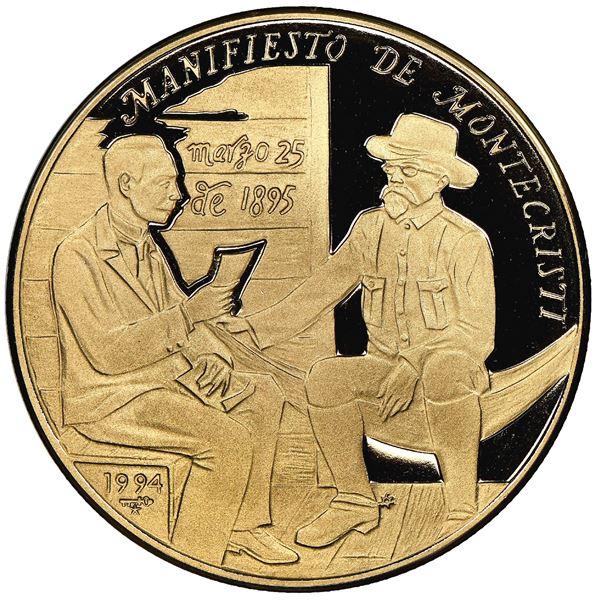 Cuba, gold proof 200 pesos, 1994, Montecristi Manifesto, NGC PF 69 Ultra Cameo.