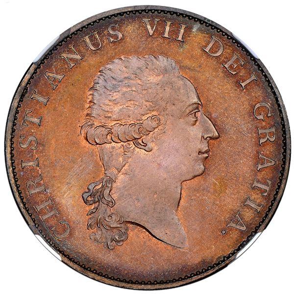 Denmark (struck at the Soho mint), copper proof pattern speciedaler, no date (1799), Christian VII,