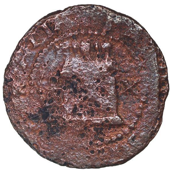 Santo Domingo, Dominican Republic, copper 2 maravedis, Philip II, assayer X, extremely rare (probabl