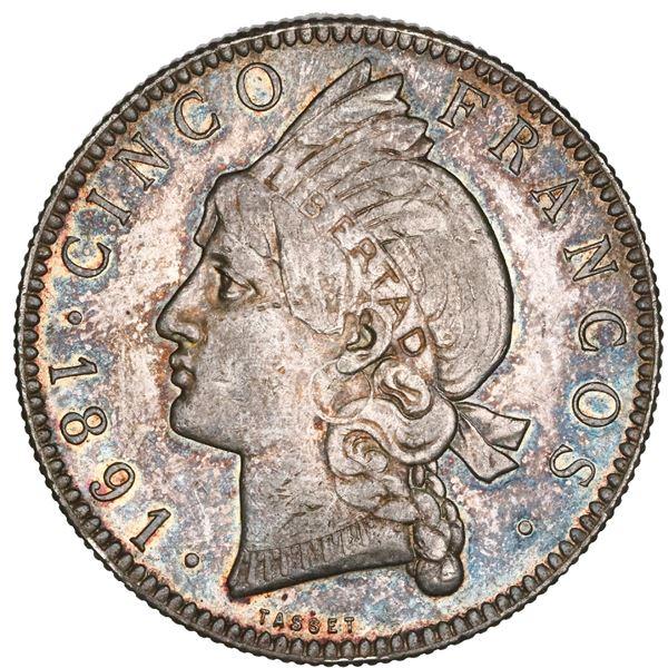 Dominican Republic (struck at the Paris mint), 5 francos, 1891-A, NGC AU 58.