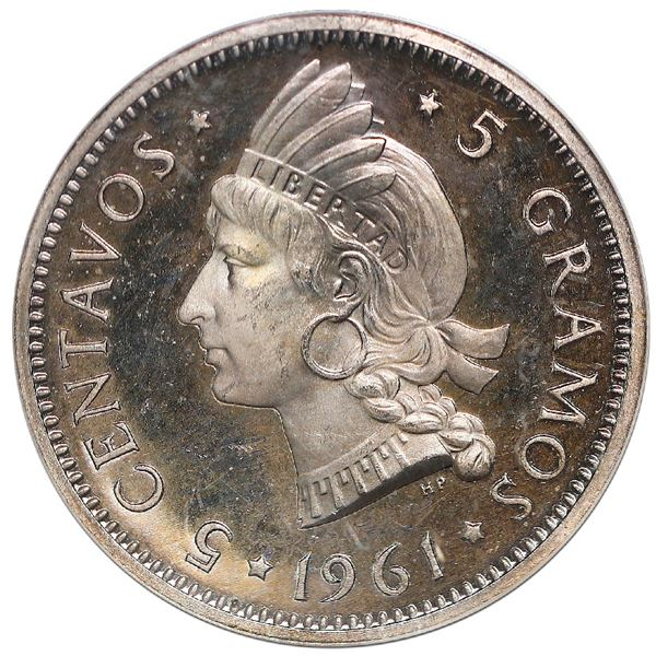 Dominican Republic, proof 5 centavos, 1961, NGC PF 65 Cameo, ex-Rudman (stated on label).