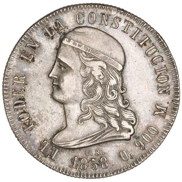 Quito, Ecuador, 5 francos, 1858GJ, NGC AU 55.