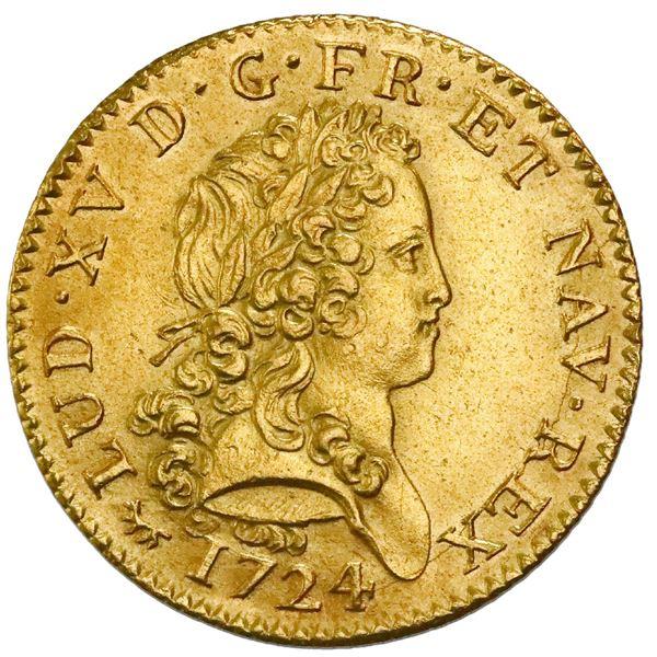 France (Paris Mint), double louis d'or, Louis XV, 1724-A, NGC AU details / saltwater damage.