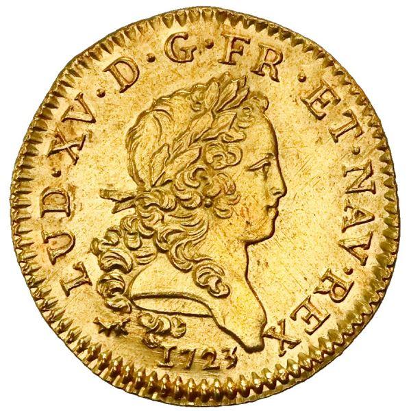 France (Paris Mint), louis d'or, Louis XV, 1723-A, palm-branch type, NGC UNC details / saltwater dam