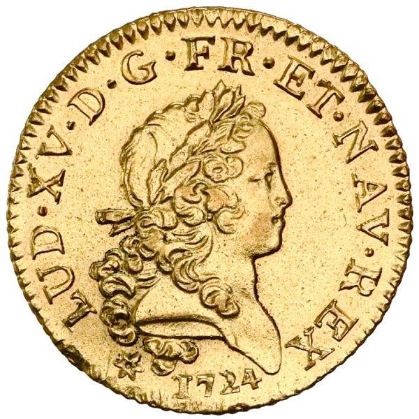 France (Caen Mint), louis d'or, Louis XV, 1724-C, palm-branch type, NGC AU details / saltwater damag