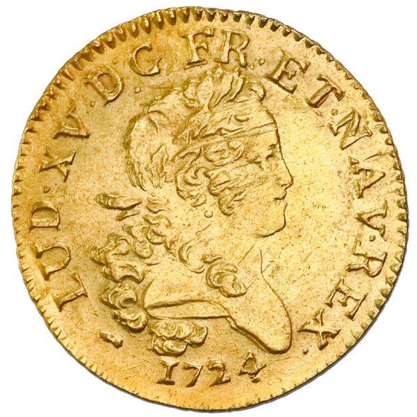 France (La Rochelle Mint), louis d'or, Louis XV, 1724-H, palm-branch type, NGC AU details / saltwate