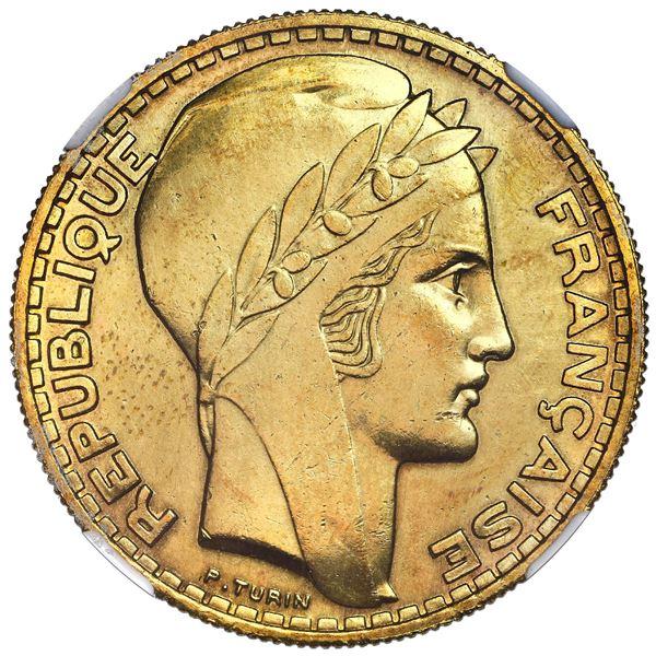 France (struck at the Paris mint), aluminum-bronze 20 francs essai, 1929, by Pierre Turin, NGC MS 61